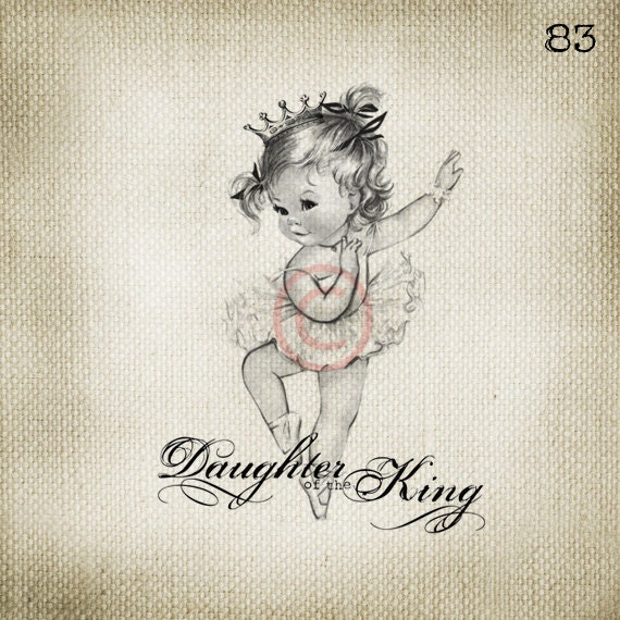 Christian Vintage Baby Ballerina Girl Princess LARGE Digital Vintage Image Download Sheet Transfer To Totes Pillows Tea Towels T-Shirts - 83