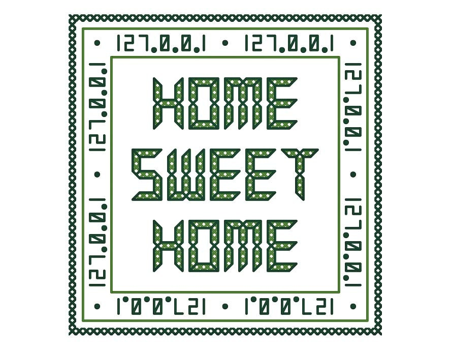Geek Chic HOME SWEET HOME Cross Stitch Ornament by neverdyingpoet