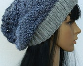 Grey And Black Slouchy Beanie Headwarmer Cloche Tams Berets For Women Teen Girls  .