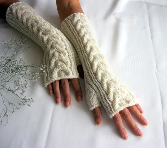 IVORY LONG Fingerless Gloves with a cable pattern