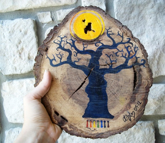 Blue Tree Painting on Wood / Shabby Chic Natural Home / Halloween Decor/  Pagan Folk Art