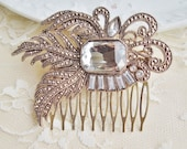 Bridal Rhinestone Hair Comb, Vintage Brooch Comb,Repurposed Glass & Brass,Gold,Crystal, Bridal, Weddings, Shabby Chic - hangingbyathread1