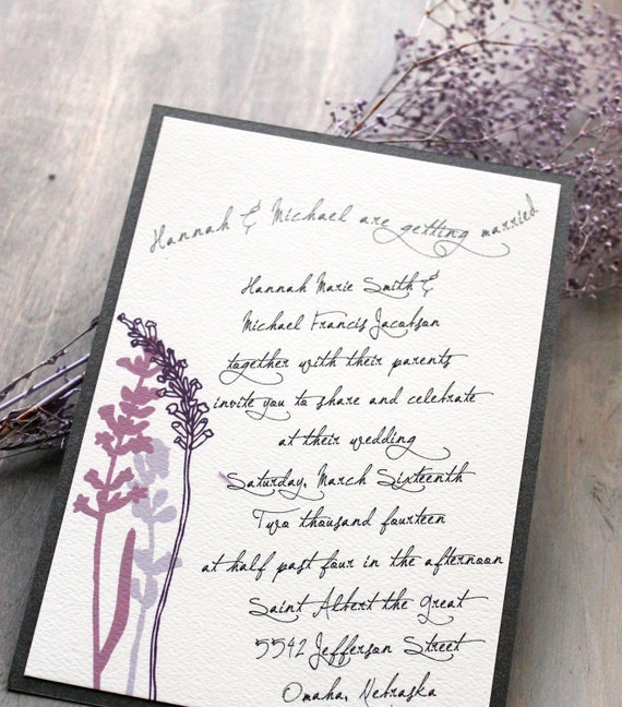 Lavender In Love - Purple Wedding Invitations, Rustic & Chic, Vintage, Lavender, Lilac, Gray Metallic  - Sample