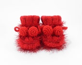 Knitted Baby Booties, Baby Infant Shoes, Hand Knit Red Baby Boots, 3 to 6 months - SasasHandcrafts
