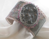 "EBWC Bead Embroidery Bracelet Cuff ""Metallic Moonscape"" Lunar Obsession September 2012 Challenge - barbaraellis"
