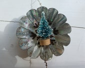 Vintage Tin Repurposed Christmas Decoration Bronze Snowflake a Christmas Tree and a Star - CurranStudios