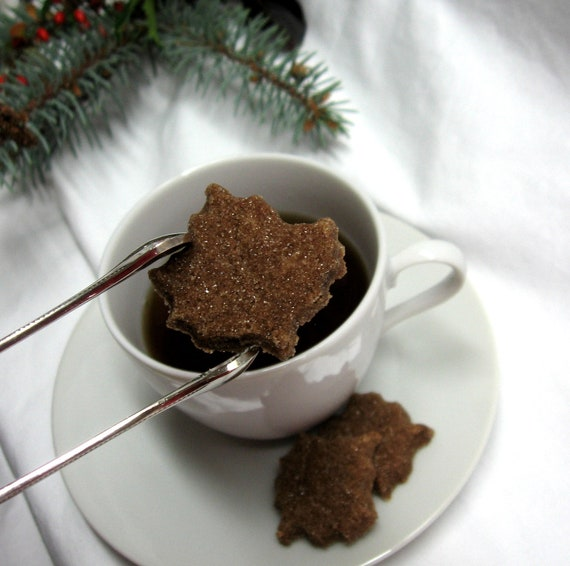 Maple Cinnamon Flavored Maple Leaf Shaped  Sugar Cubes 3 Dozen For Coffee, Tea, Oatmeal
