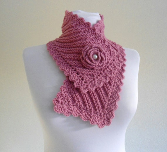 knit collar, Winter fashion, Pink neckwarmers, hand-knitted, new, Unique gift, 2013
