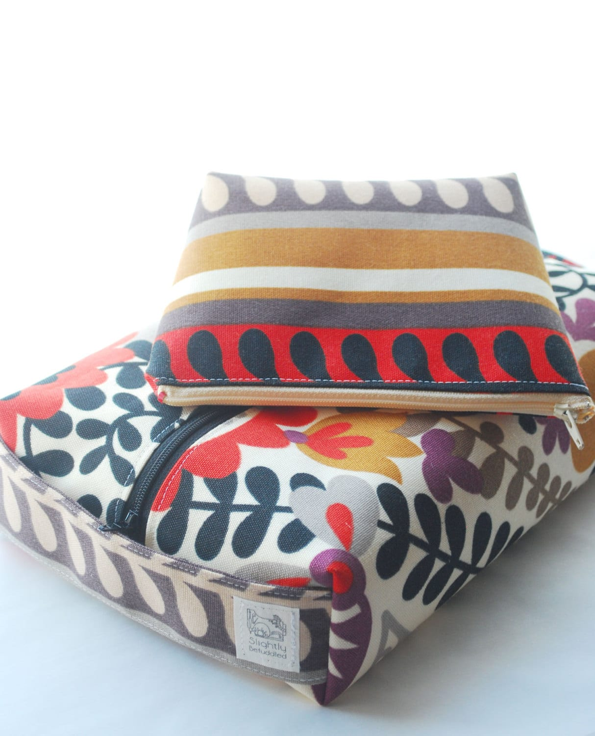 Set of two cosmetic bags large boxy bag by SlightlyBefuddled