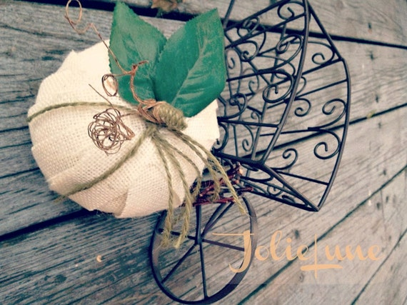 Rustic Burlap Wrapped Pumpkins
