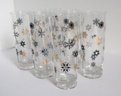 Vintage mid century holiday barware snowflake glasses, set of 6