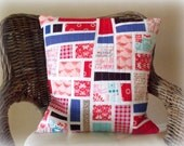 Decorative  Pillow Quilted Patchwork Red  White Pink Blue Violet
