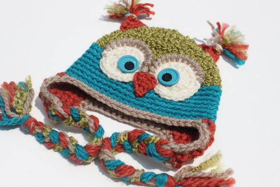 Crochet Cutest Textured Soft Owl Hat for Boy or Girl / Apple Green/ Turquoise/ Copper/ Beige  - size Newborn - 5T - Made To Order