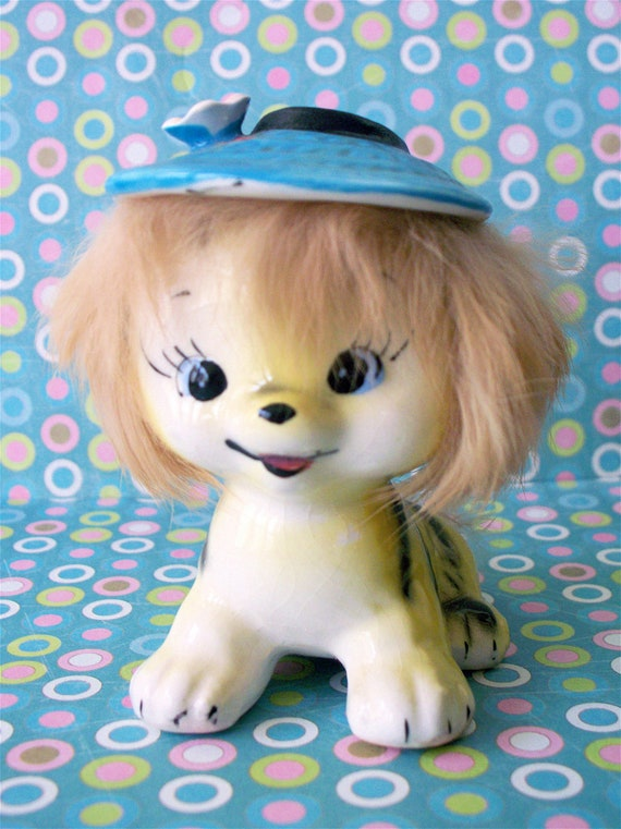Ultra Kitschy Cute Mid Century Kitsch California Creations by Bradley Japan Tiger with Blue Flower Hat and Real Fur stamped 1959