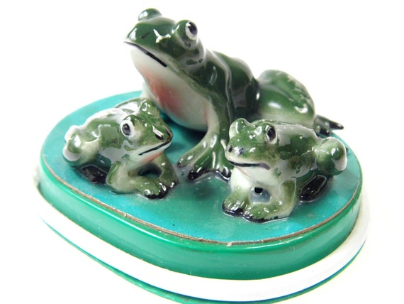 Vintage Miniature Frog Figurines, Knick Knacks, Frog, Porcelain Animals for Knick Knacks Shelf, Kitsch, Mid Century Miniatures