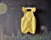 yellow and white gingham plaid toddler romper, summery flutter straps, 18 months- 2t - LaDiDottie