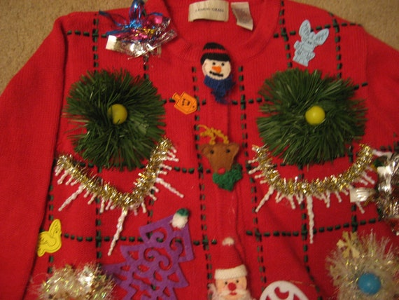 Nutcracker Reindeer Snowman Gingerbread woman's ugly christmas sweater size L