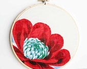 Vintage fabric embroidery hoop art - 6 inch size - makenziandmadilyn