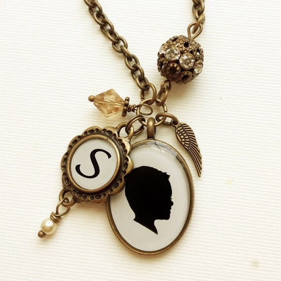Custom silhouette in brass oval and scalloped monogram charm necklace