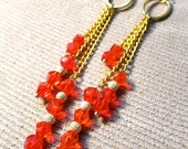 Gold and Oxblood Red Chain Drop Earrings