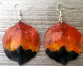 Teton Sunset Hand-Painted Jacaranda Seed Pod Earrings