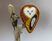 Earthy Brown Barn OWL Brooch - FREE SHIPPING - foxowlroad