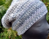 SALE Black Friday/Cyber Monday- Slouchy Crochet Hat in Gray,  Unisex - KnitMomWi