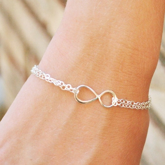 Silver Infinity Bracelet,  Bridesmaid Gift, Wedding Jewelry, Best Friend Eternity Friendship Bracelet, Sterling Silver Handmade Jewelry