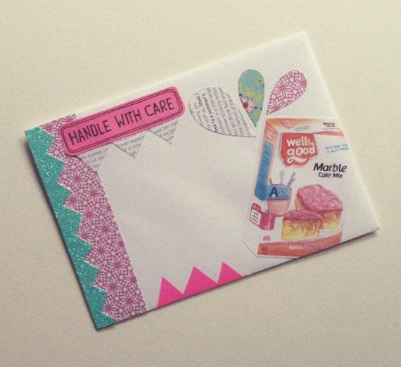 "OOAK Mail Art Piece - ""let them eat cake"""