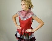 Felt by hand tunic with frilly, nunofelt vest, tunic, top,texture.OOAK.Ready to ship. - CraftbyMaryla