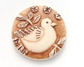 Rustic Bird on a Branch Polymer Clay Pendant