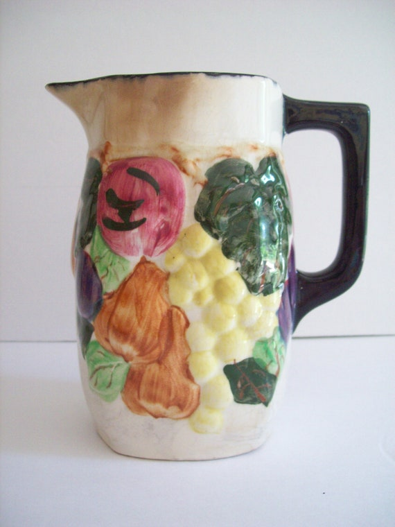 Vintage antique early 1900 pitcher Blue Ridge Pottery hand painted fruit