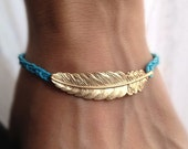 Blue Cord with Gold leaf charm wish bracelet