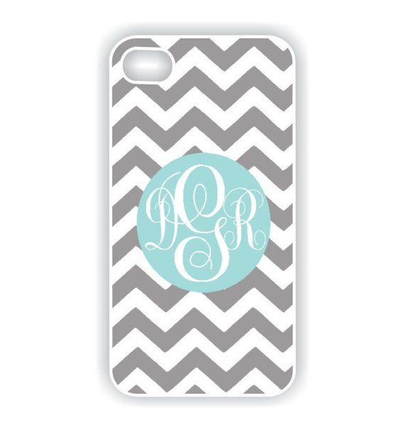 iPhone 4 Case - Tiffany Blue Monogram on Chevron  iPhone Case, iPhone 4s Case, Cases for iPhone 4, Hard iPhone 4 Case (iM3036)