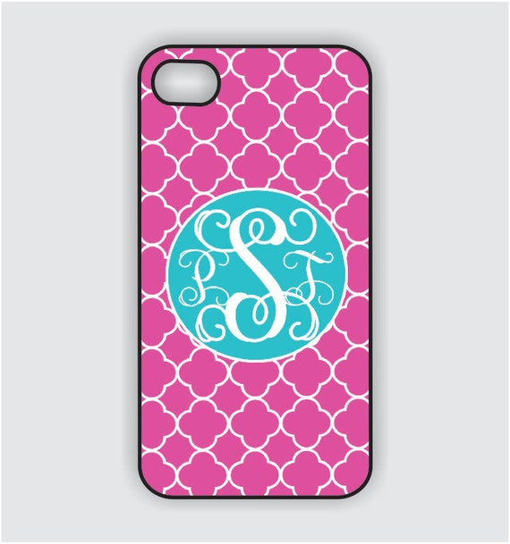 Monogram iPhone 5 Case -Hot Pink Lattice with Turquoise Monogram  -  Monogram iPhone Case, iPhone 5 Case, iPhone 5 Cover IPHONE 5