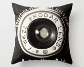 Vintage Camera pillowcase - Home Accessory with artwork  - Camera pillow case - black and white - - maybesparrowsplace