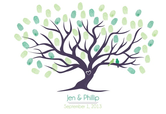 "Guestbook Fingerprint Tree for Wedding SMALL (19""x13"")"