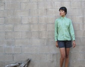 1960s blouse/ The Villager deadstock nos oxford button up/ sage green blouse S - MILKTEETHS