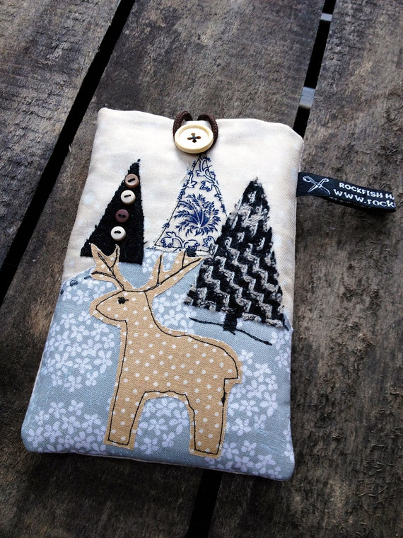 Handmade Applique DEER STAG Nature Scene Mobile Phone Case / Cover / Sleeve