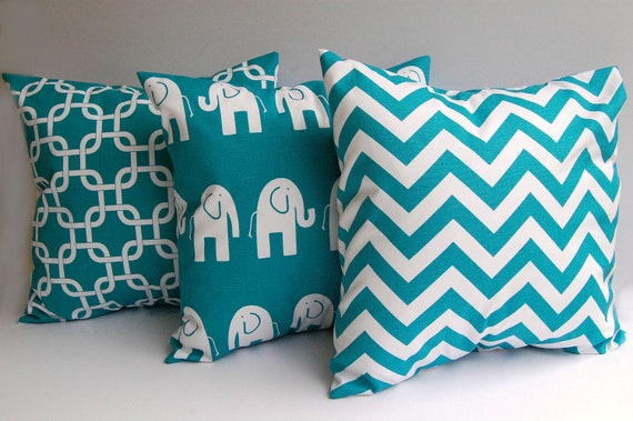 Throw pillows turquoise set of three 20 x 20 decorative throw pillow covers mix and match