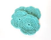Organic Cotton Facial Rounds Crochet Face Scrubbers Teal Turquoise Flower Cotton Round Makeup Removal Pads Spa Set of 4 - LemonLaneOrganics