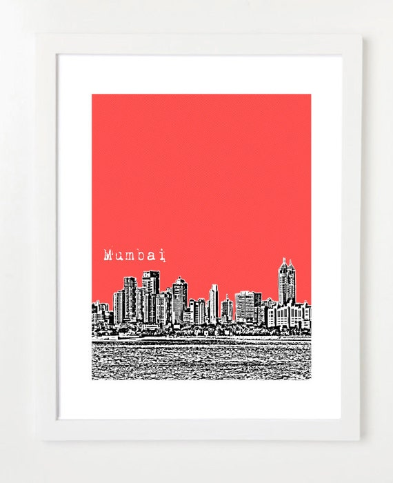 Mumbai India  - 8x10 City Skyline Art Print  By Bugsy&Sprite -