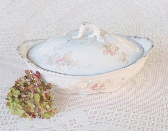 Alfred Meakin Covered Vegetable Bowl - Vintage, English Decor, Porcelain, French, Shabby Chic, Farmhouse, Wedding, Oval, Floral