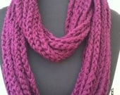 Free US Shipping: Purple Infinity Crocheted Rope Chain Necklace/Scarf