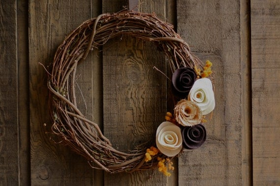 Rustic Fall 18'' Grapevine Wreath with Felt Flowers