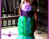 Little Mermaid Tutu Halloween Costume Pageant Dress with Flower Hair Clip - BlissyCoutureTutus