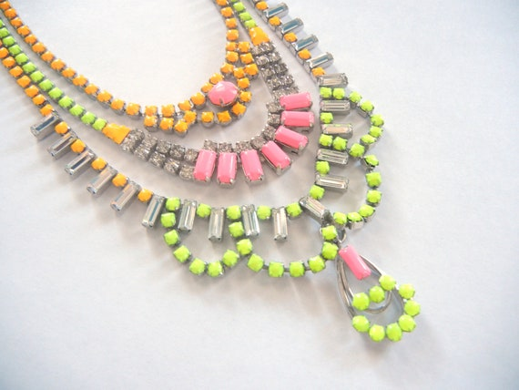 Vintage 1950s One Of A Kind Hand Painted 3 Strand Bold Neon Yellow Pink and Orange Rhinestone Necklace - Made To Order