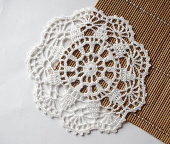 Crochet doily small white handmade linen lace crochet doilies centerpiece