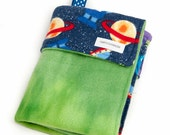 Baby Lovey Blanket - Green and Blue Aliens in Outerspace Lovey - Ready to Ship