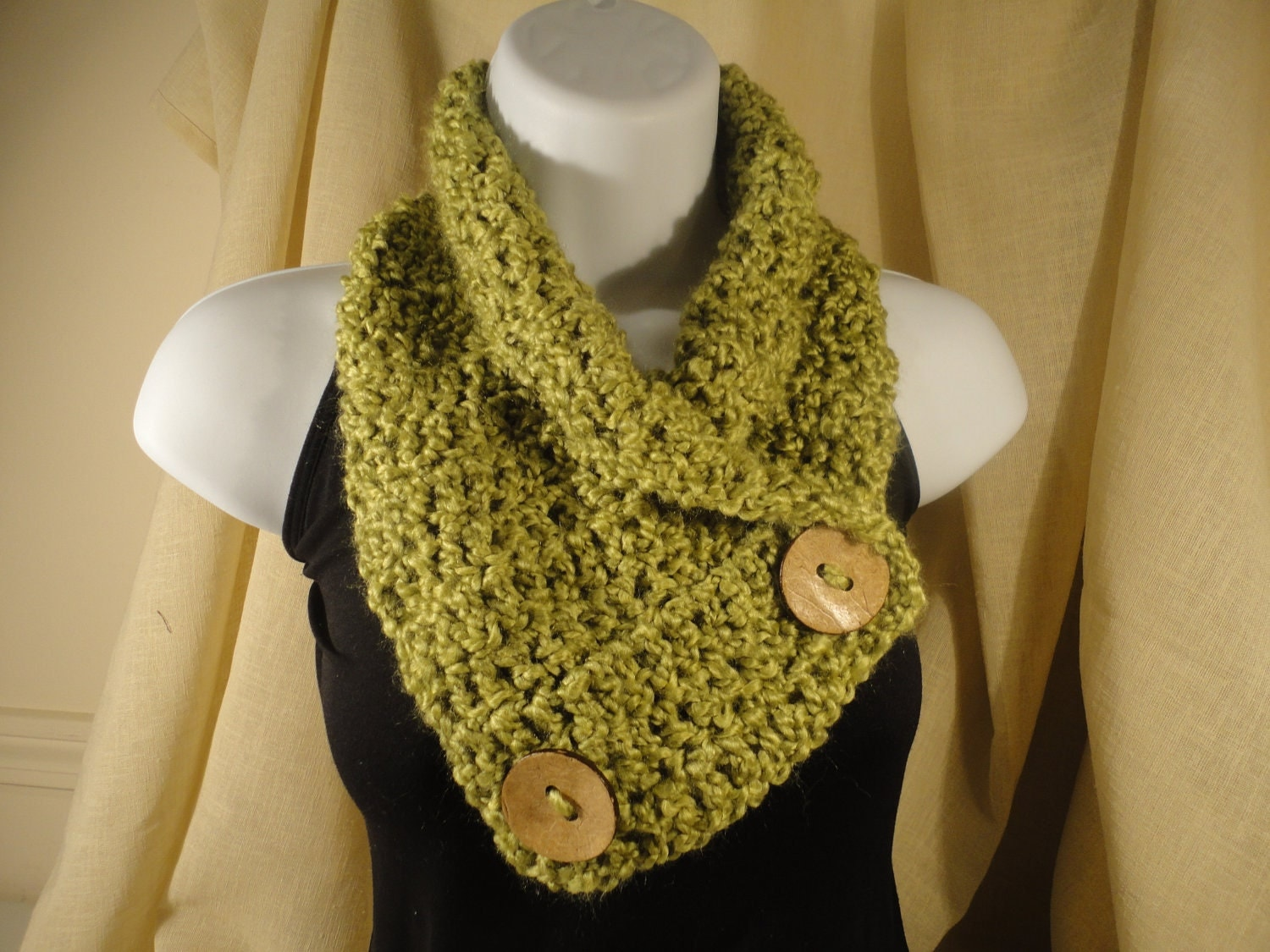 Crochet Scarf Cowl Neck Warmer with Buttons Apple Green Texture Cowl Neck Scarves Crochet